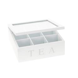 Koopmann Teebox Teebox aus Holz weiß Teekasten Teekiste für Teebeutel mit 9 Fächer Vintage, Holz, (1-tlg)