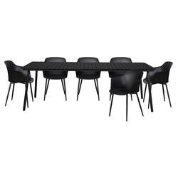 ebuy24 Gartenmöbelset Gell Gartenmöbel Set 1 Tisch und 6 Stühle. schwarz