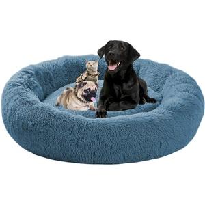 ping bu Beruhigendes Hundebett, flauschig, groß, waschbar, Donut-XL-Hundebett für mittelgroße Hunde, Welpen, Katzen, XXL, extra großes Hundebett, Anti-Angstzustände (S-50 cm, blau)