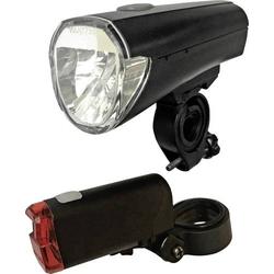 Arcas Fahrradbeleuchtung Set LED batteriebetrieben Schwarz