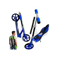 KESSER Cityrad, Scooter Roller Kinderroller Cityroller Tretroller Kickroller Kickscooter XXL Rollen 205mm ABEC7-Kugellager Tragegurt klappbar blau