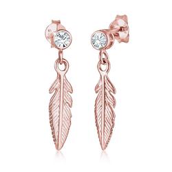 Elli Paar Ohrhänger Ohrhänger Feder mit Kristalle Silber rosa