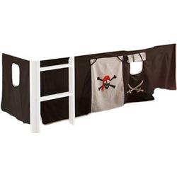 Vorhang Pirat 3-tlg 100% Baumwolle inkl. Befestigung ( 2x Klettband ) schwarz / weiß