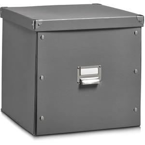 Zeller 17629 Aufbewahrungsbox, Pappe, grau, ca. 33,5 x 33 x 32 cm