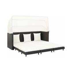 Ausziehbares 3-Sitzer-Schlafsofa mit Dach Poly Rattan Schwarz