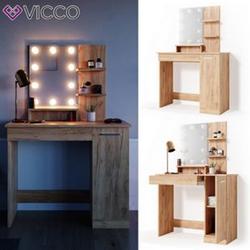 VICCO LED Schminktisch JULIA Frisierkommode Frisiertisch Spiegel Eiche Kommode