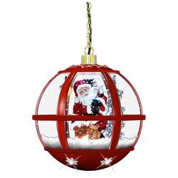 Schneiende LED-Laterne rund rot Santa - 35 cm