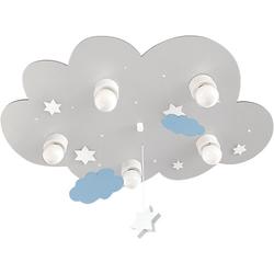 Deckenleuchte Wolke grau mit Wolken und Sternen, 5-flg.