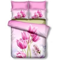 DecoKing 01158 Bettwäsche 200x220 cm mit 2 Kissenbezügen 80x80 Amarant 3D Microfaser Bettbezug Blumenmuster rosa Sandy