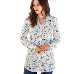Long-Bluse mit Hemdkragen Emilia Lay ecru/multi colour
