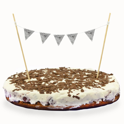 Torten Topper Kuchen Aufsatz Torten Wimpel Kette Kuchen Deko - silber