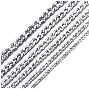 DonDon Kette mit Anhänger Edelstahlkette Halskette silber (Edelstahl Halskette), Panzerkette aus Edelstahl, für Herren, verschiedene Längen und Breiten silberfarben 56 cm / 0,8 cm