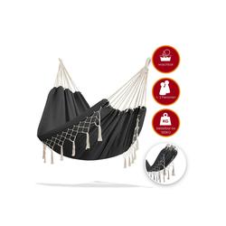KESSER Hängematte, Hängematte 300kg belastbar 320x150cm max. Belastbarkeit 300 kg 1-2 Personen atmungsaktiv Fransen wetterfest Camping Garten Tuchhängematte Mehrpersonen grau