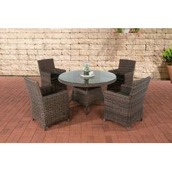 CLP Gartenmöbelset Pinella 5mm, 4 Gartenstühle mit Polsterauflagen braun