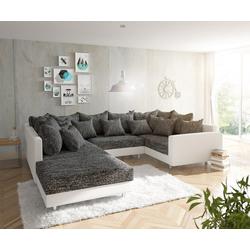 DELIFE Wohnlandschaft Clovis, Weiss Schwarz mit Hocker und Armlehne Wohnlandschaft weiß 300 cm x 67 cm x 200 cm