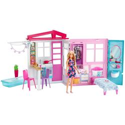 Barbie Fxg54 Ferienhaus Mit Puppe Möbeln Und Pool Portables Puppenhaus Ca. 46 Cm Hoch Mit Tragegriff Puppenzubehör Spielzeug Ab 3 Jahren