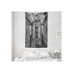 Wandteppich aus Weiches Mikrofaser Stoff Für das Wohn und Schlafzimmer, Abakuhaus, rechteckig, Schwarz Antike Eisenbahnwaggon 140 cm x 230 cm