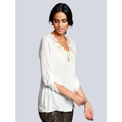 Alba Moda Bluse mit strassverzierten Stoffblumen weiß 40Normal