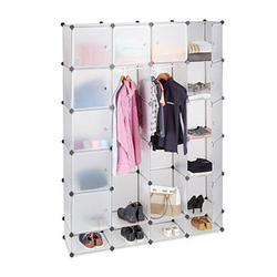 relaxdays Kleiderschrank transparent 18 Fachböden