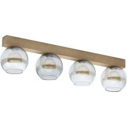 Licht-Erlebnisse Deckenleuchte ARTWOOD Moderne Deckenleuchte Holz Glas wohnlich Wohnzimmer Flur Lampe