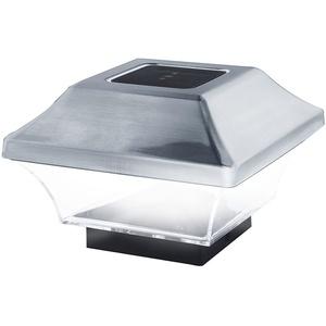 Zaunpfostenleuchte Solar LED Leuchte für Zaunpfähle, Garten Pfostenkappen, Zaunpfosten GL067SS in Edelstahl und Kunststoff mit 2 Adaptern