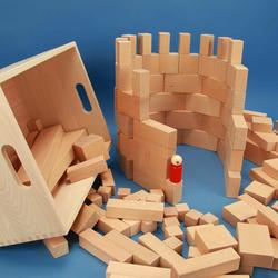 Holzbausteine Set 140 in der Buche-Kiste mit Lasergravur