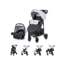 Chipolino Kombi-Kinderwagen Baby Kombikinderwagen Passo 2 in 1, mit Autositz, Fußsack grau