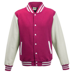 Kids` Varsity Jacket | Just Hoods Hot Pink/White 7/8 (M)