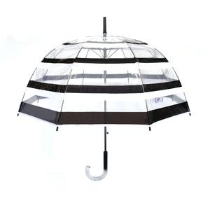 SMATI Transparenter Automatik Regenschirm - Stockschirm Glockenform - Schwarz und Weiß Design - Winddicht