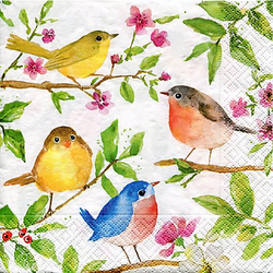 """Papierservietten """"Vögel im Baum"""", 33 x 33 cm, 20 Stück"""