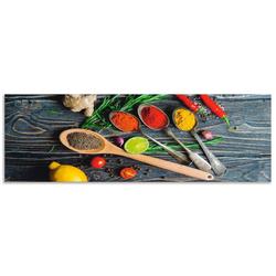 Artland Küchenrückwand Gewürze in Metalllöffeln, (1-tlg) 170 cm x 55 cm x 0,3 cm