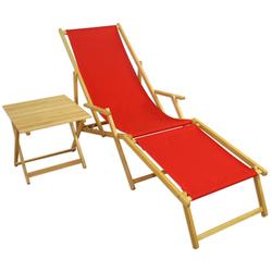 Liegestuhl Gartenliege rot Fußteil Tisch Sonnenliege Holzliege Gartenmöbel 10-308 N F T