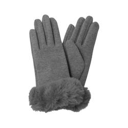 HALLHUBER Strickhandschuhe mit Fake-Fur grau
