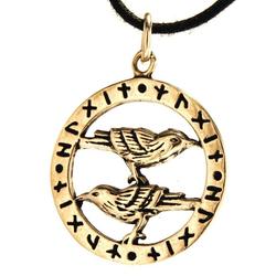 Kiss of Leather Kettenanhänger Odins Raben Anhänger Bronze Rabe Odin Hugin Munin Namen Runen Runenring