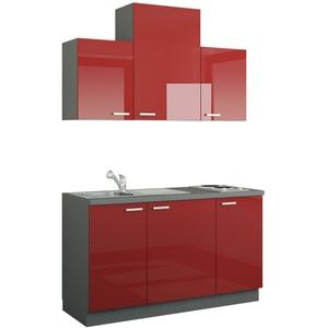 Küchenzeile mit Elektrogeräten ¦ rot ¦ Maße (cm): B: 150 » Möbel Kraft