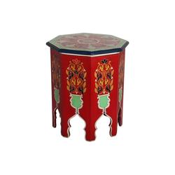 Casa Moro Beistelltisch Casa Moro Marokkanischer Beistelltisch Widad Höhe 51 cm x Ø 42 cm aus Holz handbemalt, Vintage Sofatisch Handmade Tisch, RK600, Kunsthandwerk aus Marokko