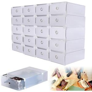 WUPYI2018 Schuhboxen aus Kunststoff, 20X Schuhbox transparent Schuhkartons wasserdichte aufbewahrungsbox 31 * 20 * 11cm für Männer und Frauen mit Tür, Schuhaufbewahrung