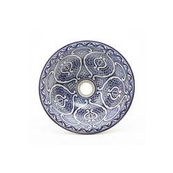 Casa Moro Waschbecken Casa Moro Orientalisches Keramik-Waschbecken Fes70 blau-weiß handbemalt Ø 35 cm rund, Kunsthandwerk aus Marokko, Handwaschbecken für Bad Waschtisch Gäste-WC, WB35270, Handmade