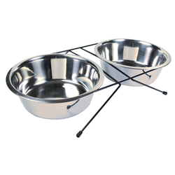 Trixie Eat on Feet Stainless Steel Bowl Set, Durchmesser: 24 cm