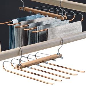 Hosenbügel Platzsparend Holz, 5-In-1 Hosenaufhängung Ausziehbar, Multifunktionale Kleiderbügel Hosen rutschfeste Schrankorganisatoren für Kleiderhosen Röcke Jeans Schals Krawatten