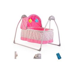 Moni Babywippe Babywiege Accent, elektrisch, Remote, Musik, Timer, Spielbogen, Insektenschutz rosa