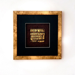 Wandbild Micado 4 Holz-Glas-Kunststein Gold-Schwarz