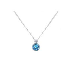 Msova Schmuckset Blaue Kristallkette 925 Silber NS2521 blau