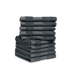 jilda-tex Gästehandtücher Soft Cotton 10er Set Gästehandtuch grau
