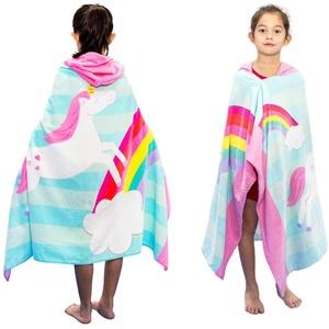 Kinder-Strandtücher, für Kinder, Kleinkinder, Jungen, Mädchen, weiche Plüsch-Badetuch mit Kapuze für Kinder, Bad, Pool, Strand, Schwimmen, Bademantel, Regenbogen
