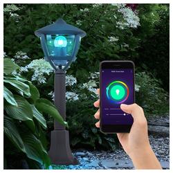 etc-shop LED Außen-Stehlampe, Außen Steh Lampe steuerbar per Handy App Garten Leuchte im Set inkl. RGB LED Leuchtmittel