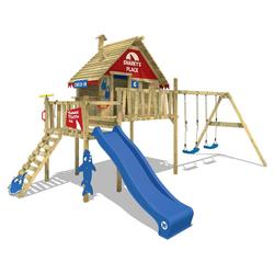 Wickey Spielturm WICKEY Spielturm Klettergerüst Smart Bay mit Schaukel & Rutsche, Stelzenhaus mit Kletterleiter & Spiel-Zubehör blau