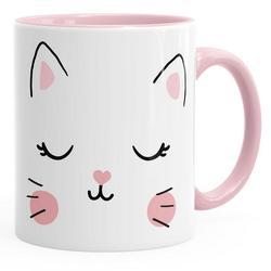 MoonWorks Tasse Kaffee-Tasse Katze Katzengesicht Cat Teetasse Keramiktasse MoonWorks®, Keramik