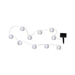 STAR TRADING LED-Lichterkette LED Solar Lichterkette Lampion kaltweiße LED 10 weiße Lampions L: 2,70m Terrasse, 10-flammig