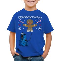 style3 Print-Shirt Kinder T-Shirt Krümelmonster Ugly Sweater kekse cookie fun ernie bert monster x-mas pulli blau 128